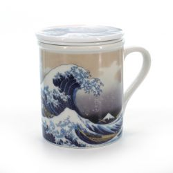 cup with lid and wave pictures white KANAGAWA URANAMI