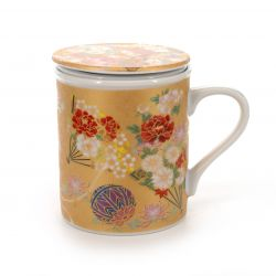 cup with lid and peony flower patterns gold KINSAI GOLD BOTAN