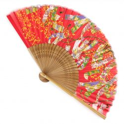 Japanese fan in Silk and Bamboo, RIBON,made in China