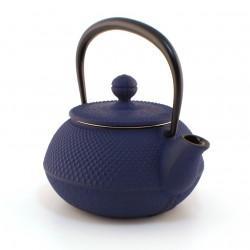 Small Japanese blue and brown glazed ceramic container - PACHIPACHIBURU