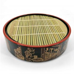 Round lacquered plate with bamboo support - ZARU SOBA