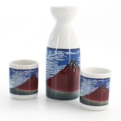 sake service 1 bottle and 2 cups, GAIFÛKAISEI AKAFUJI, Mount Fuji