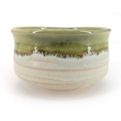 Japanese ceramic tea ceremony bowl, gray, beige, green border - KYOKAI