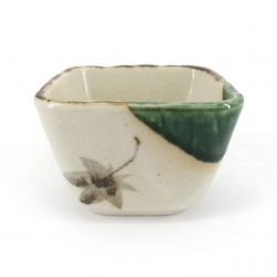Small Japanese square container in beige and green ceramic - MOMIJI