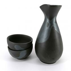 Ceramic sake service, bottle and 2 cups, black and silver gray - GIN