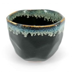 Ceramic bowl for tea ceremony, black edge infused paint - CHUNYU