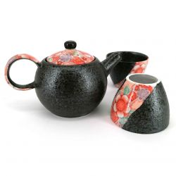Tea set, kyusu round ceramic teapot with removable filter and 2 cups - FURORARU