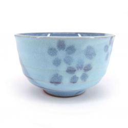 Japanese ceramic tea cup, light blue and flowers - BURUFURAWA