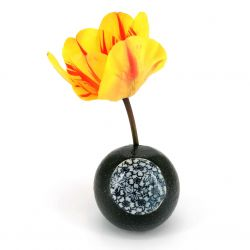 Japanese round soliflore vase, black - HANA MOMIJI