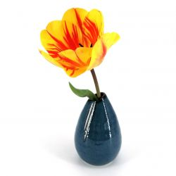 Japanese soliflore vase, blue, white vertical lines - GYO