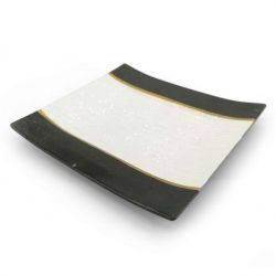 Japanese square plate in ceramic, brown, gold and silver - KINGIN