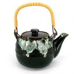 Japanese enamelled ceramic teapot with removable filter, black edge infused paint - CHUNYU
