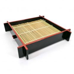Square black lacquered plate with bamboo support - ZARU SOBA