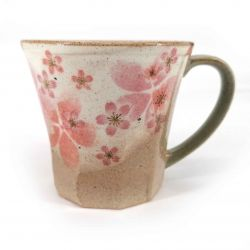 Japanese ceramic mug with handle, beige and pink - SAKURA
