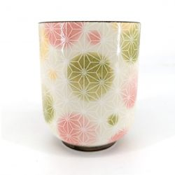 Japanese ceramic tea cup, white and colors - ASANOHA