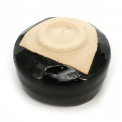 Japanese black comb and mirror in flower pattern resin - BOTAN