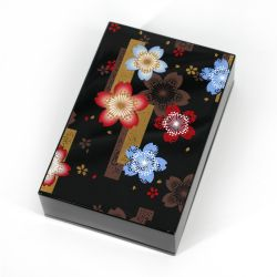 Black Japanese card storage box in cherry blossom pattern resin, NOSHISAKURA, 11x7.5x3cm