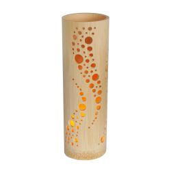 Japanese bamboo lamp with its LED candle - NAMI- 7.5x23.5cm