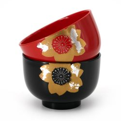 Japanese black and red resin bowl duo with flower motif packed in a furoshiki - KIZUNA - 11x7.2cm