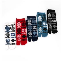 Japanese tabi cotton socks with traditional Japanese symbols pattern, KAMON, color of your choice, 25 - 28cm