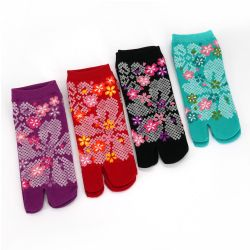 Japanese tabi cotton socks with cherry blossom pattern, SAKURA, color of your choice, 22 - 25cm